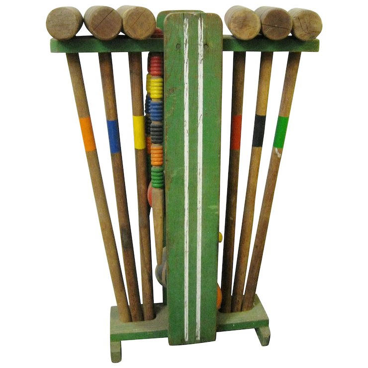 Vintage Wooden Croquet Set With Stand Ili Antiques Ruby Lane