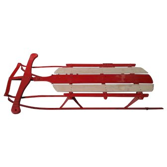 Vintage Red and White Snow Sled