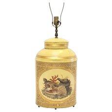 Antique Tole Tea Caddy Cannister Lamp w Coral Motif