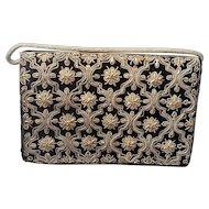 Vintage Black Velvet Gold Metal Embroidery Evening Bag