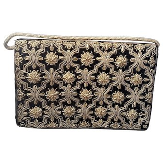 Vintage Black Velvet Gold Metal Embroidery Evening Bag