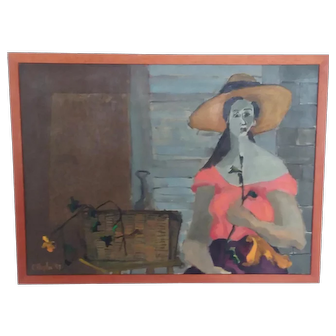 Mid Century Painting Girl with Flower signed