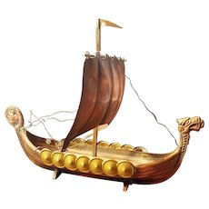 Model of a Viking Ship Bronze and Copper Vintage