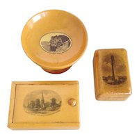 3 Pieces Mauchline Ware 19th Treen