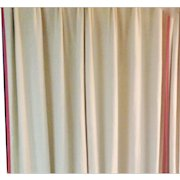 Pair French Linen Draperies w Red Trim