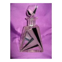 Large DECO Enamel and Sterling Crystal Czech Decanter