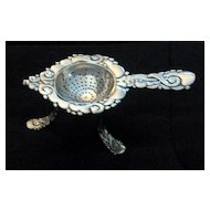 Sterling Danish Tea Strainer with base