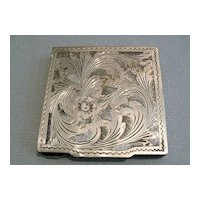 """""""800"""" Silver Etched  Mirror Compact"""
