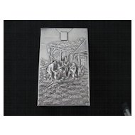 Danish  Heavily Silver-Plated  Cigarette Pack Holder with Picturesque Scene
