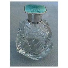 English Enamel and Sterling Silver Perfume Bottle