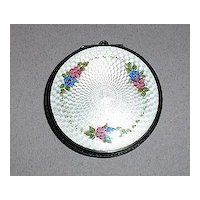 Sterling Silver and Enameled Mirrored Compact