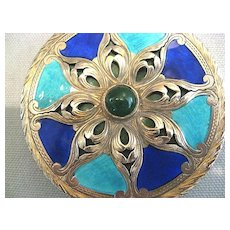 800 Italian Silver and Enamel Compact