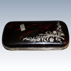 Cigar case with sterling and pique work