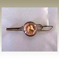 Vintage Glass Rosette Horse Tie Clip