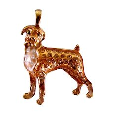 Beautiful Gold Over Sterling Boxer Dog Pendant