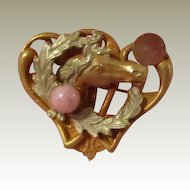 Art Nouveau Lovely Horse Pin Watch Holder