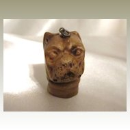 Antique Pug Dog Cheesehead Pendant