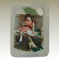 "6"" Antique  Die Cut Pug Dog Trade Card"