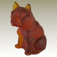 Large Amber Czech Glass French Bulldog  Vintage