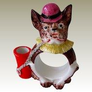 Germany Porcelain French Bulldog Napkin Ring/Toothpick