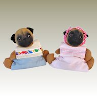 Signed Pair Pug Dolls Jan Shackelford Vintage
