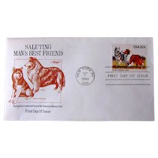 1984 First Day Cover With Collie Dog And Alaskan Malamute