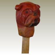 Pipe Tamp Wood Carved Bulldog Vintage