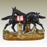 Vintage Pair German Black Horses
