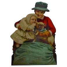 """C.1884 Die Cut With Pug Dog """"Confusion"""" Play"""