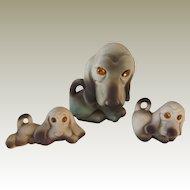 Roselane Pottery CA Set Of Three Dachshunds/Basset Hounds