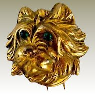 Victorian Gold Filled Clip Of Cairn Terrier Dog
