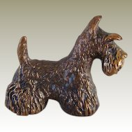 Vintage Miniature Bronze Scotty Dog Signed