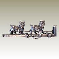 Antique Sterling French Bulldog/Boston Terrier Pin