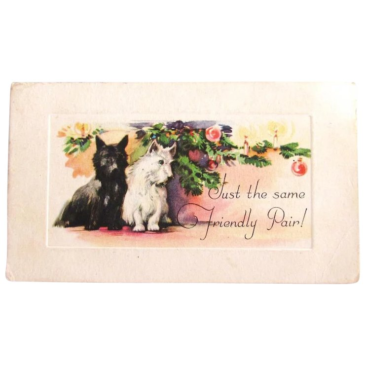 Vintage Two Scottie Dog Christmas Card Etching Style SOLD | Ruby Lane
