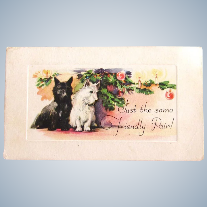 Dog Christmas Cards.Vintage Two Scottie Dog Christmas Card Etching Style