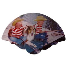 Vintage Brewery Advertising Fan Collie Dog