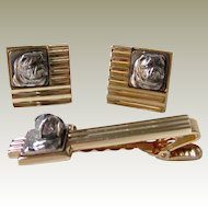 Vintage Signed Gold Tone And Sterling Bulldog Cufflink Set