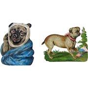 Pair Small Antique Diecuts Pug Dogs