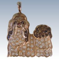 Sterling Silver 925 Gold Vermeil Shih Tzu Crystal Pendant