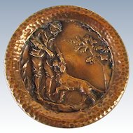 Antique Extra Large Metal Button With Golden Retriever Dog