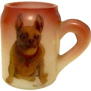 Rare Antique Handel Glass Match Holder French Bulldog