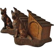 Rare Bradley & Hubbard Cast Iron German Shepherd Dog Bookends