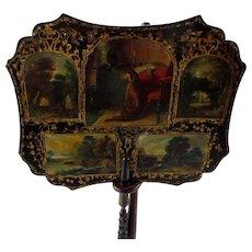 Victorian Mache Fan w/Stand Painted Deerhound Dog