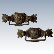 Vintage Bronze Pug Dog Drawer Pulls