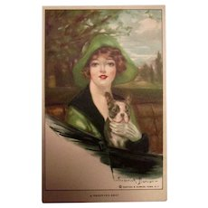 Glamour Dog Fashion Antique Postcard Signed French Bulldog