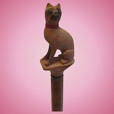Wood Carved Boston Terrier Dog Walking Stick/Cane Antique