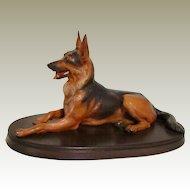 Vintage Large Anri German Shepherd Dog Sculpture Signed