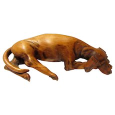 Vintage Hand Carved Wooden Hound Dog