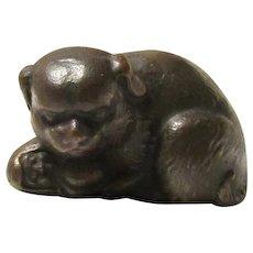 Vintage Bronze Signed Tiffany Studios Pug Dog w/Pup