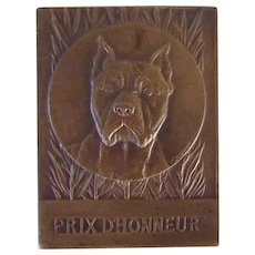 Solid Bronze Antique Medallion Pit Bull Terrier Dog Antique